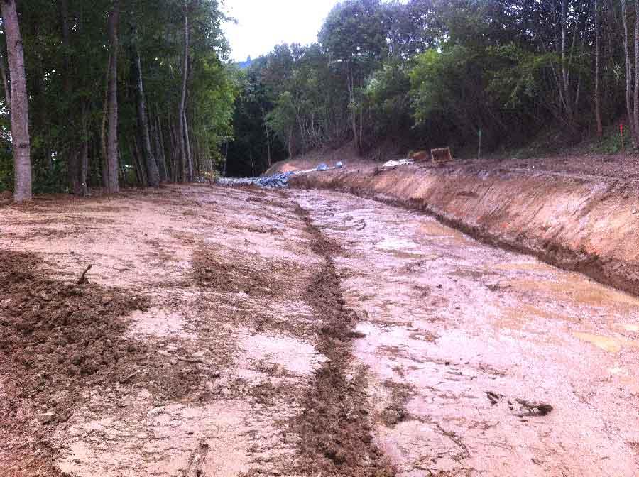 Continuité écologique : chantier pour la suppression d'un seuil, par arasement sur la TURDINE en 2014, aux blanchisseries de TARARE