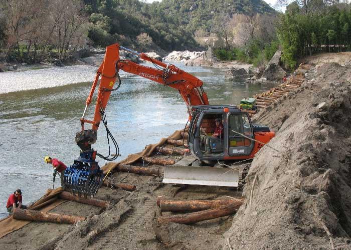 Mise en place des longrines pour la construction des caissons