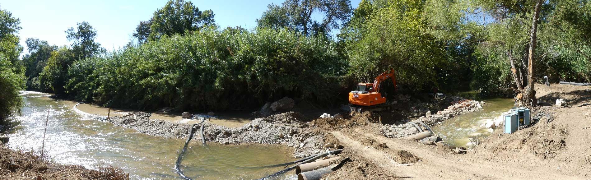 Destruction du seuil et busage partiel du cours d'eau