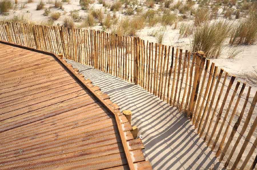 Cheminements en platelage bois sur pieu battu : planches débitées en « queue de billard » pour les parties sinueuses.