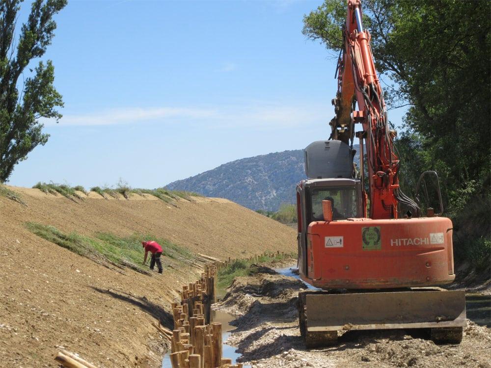 Génie végétal - Stabilisation de pied de digue - mise en place de fascines de saules