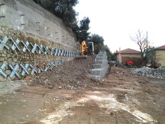 Construction d'une rampe d'accès avec soutènement en gabions