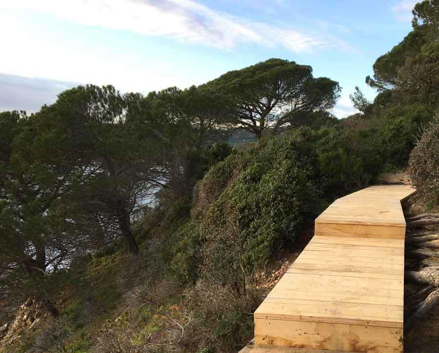 Cheminement en bois sur le sentier du littoral