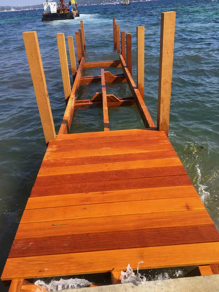 Ponton bois démontable, ossature et plancher