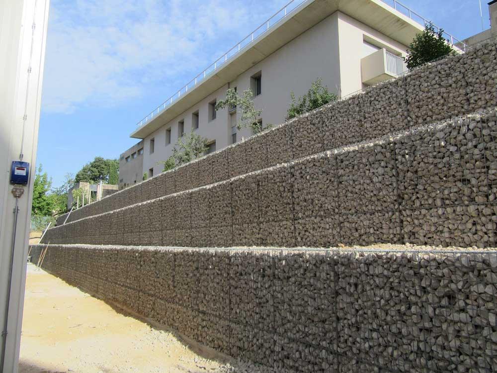 Mur se soutènement en gabions