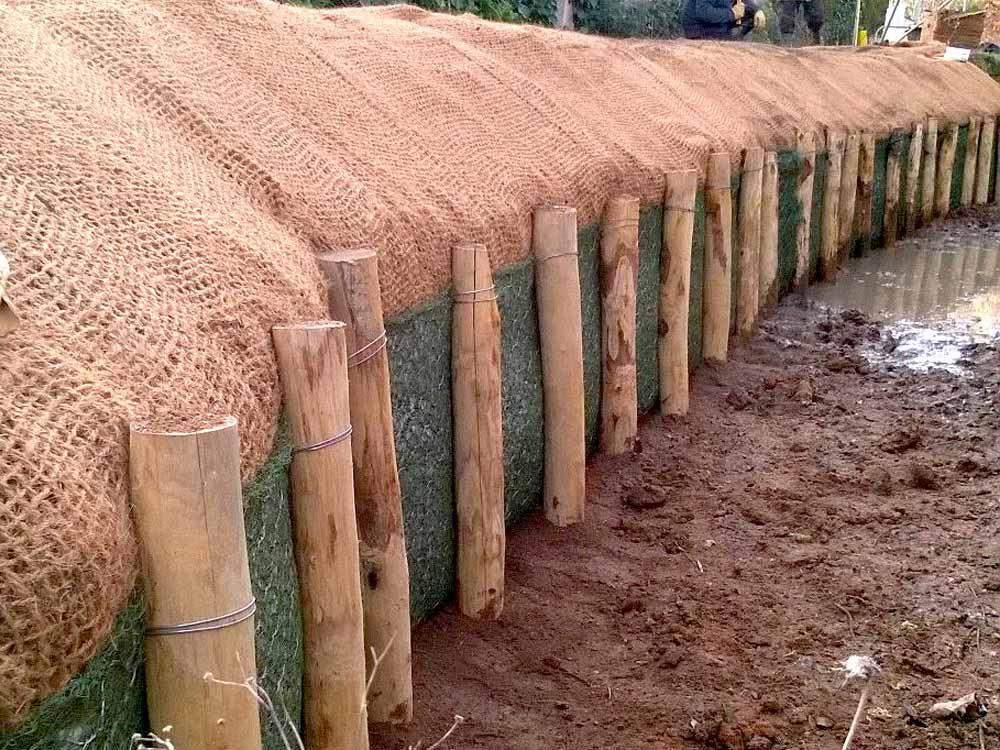 Tunage en poteaux bois et géomat