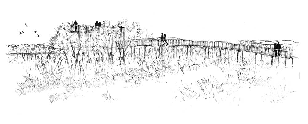 Croquis de l'observatoire de l'étang de Villepey - Bureau d'études ALEP - Atelier Lieux Et Paysages