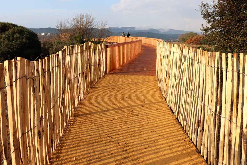 Entrée du cheminement bois - stabilisé compacté et ganivelles