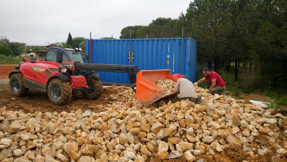 Trie des pierres à gabions