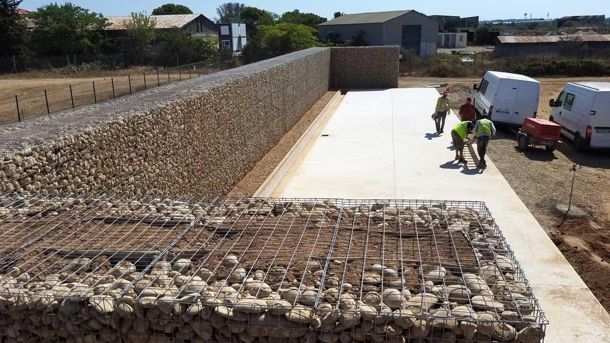 Mur anti-bruit en gabions
