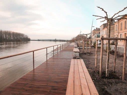 Platelage bois sur pilotis – Quais de Langoiran (Gironde, 33)