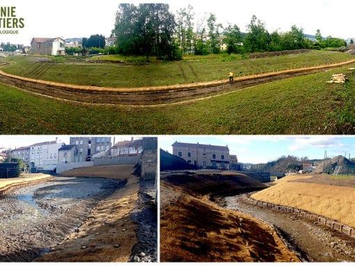 Remise à ciel ouvert d'un cours d'eau – Travaux de restauration morpho-écologique – L'Ondenon & l'Ondaine, La Ricamarie, (Loire, 42)