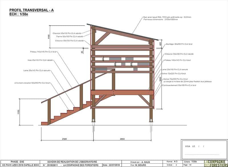 Plan d'un observatoire en bois sur pilotis