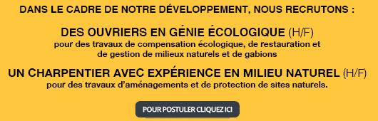 Offre emploi ouvrier en génie écologique