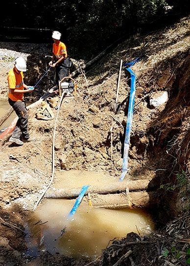 Travaux de protection d'une canalisation de gaz immergée