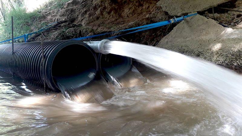 Travaux sous-fluviaux, gestion des eaux
